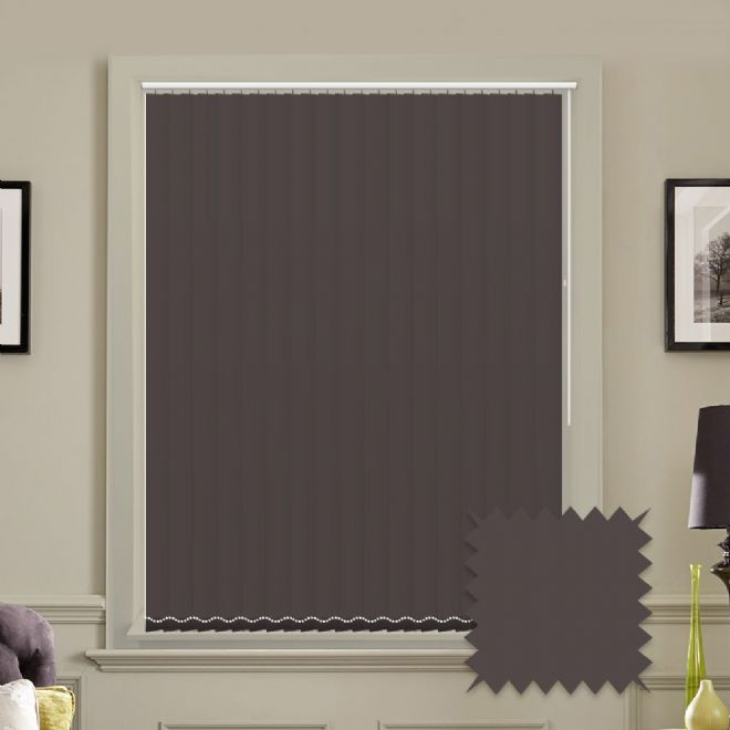 Dark Brown vertical blinds - Made to Measure vertical blind in Splash Chocolate - Just Blinds